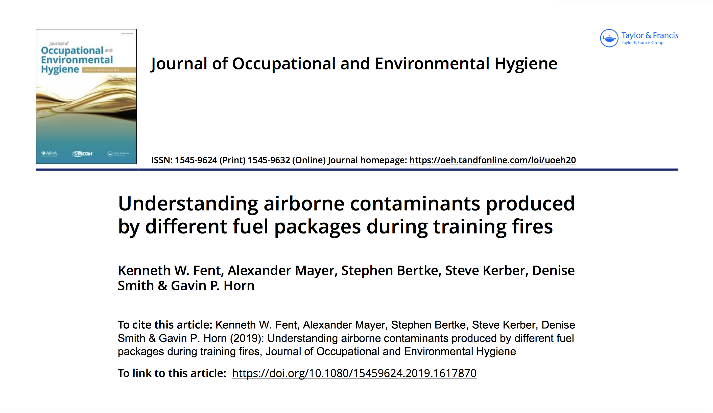 Peer-Reviewed Journal Article Provides Understanding of Airborne Contaminants Produced by Different Fuel Packages During Firefighter Training