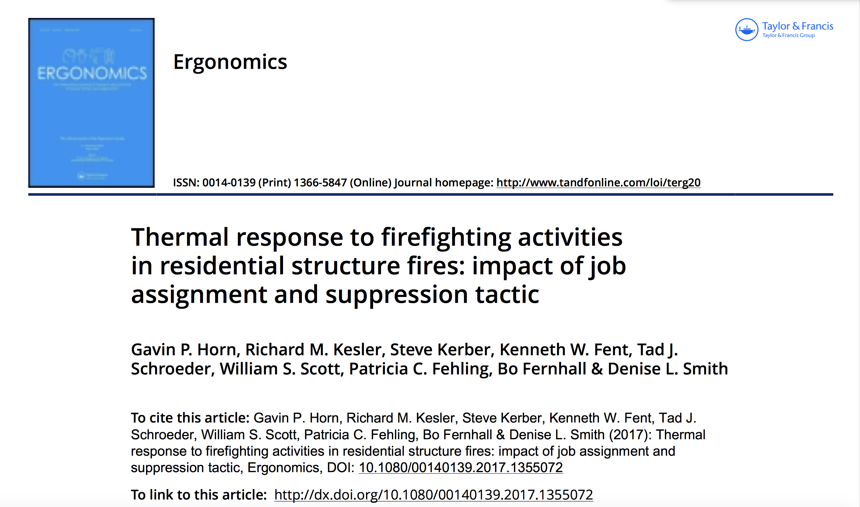 Peer-Reviewed Journal Article Discusses Firefighter Thermal Responses to Firefighting Activities in Residential Structure Fires
