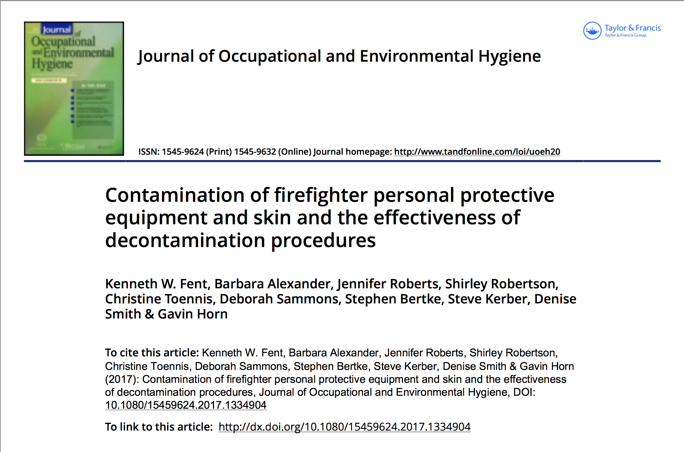 Peer-Reviewed Journal Article Examines the Effectiveness of Decontamination Procedures on Firefighter Personal Protective Equipment and Skin