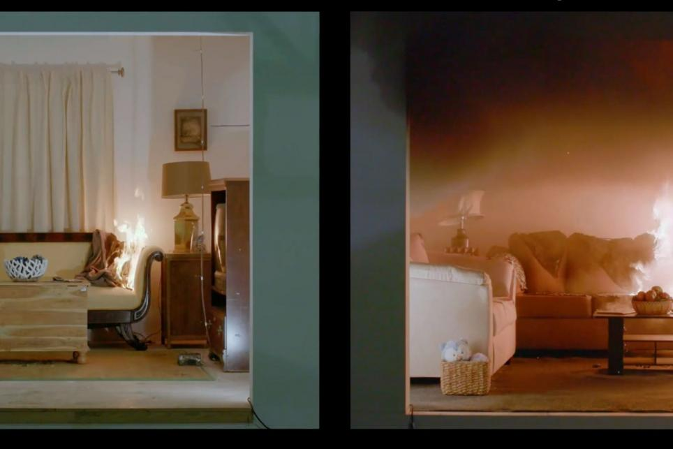 Two living rooms side by side with the one on the left containing furniture of natural material and the one on the right containing furniture made of synthetic materials. The living room on the right is also on fire.