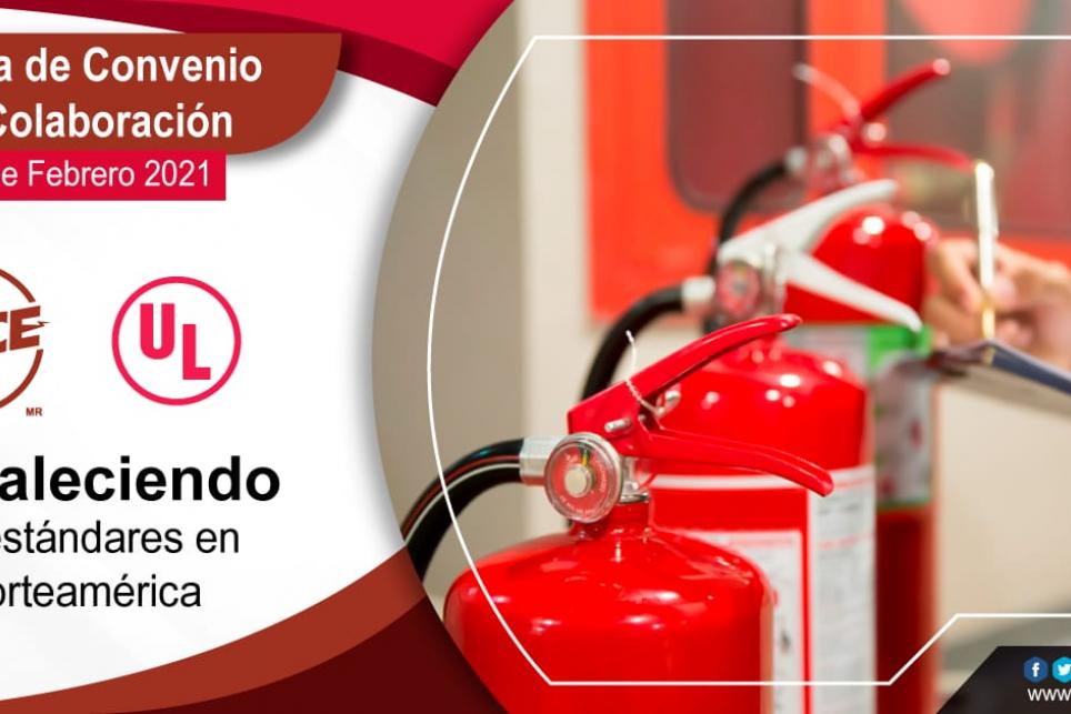 "Photo of fire extinguishers and text in Spanish reading ""Signature of collaboration agreement strengthening standards in North America"""